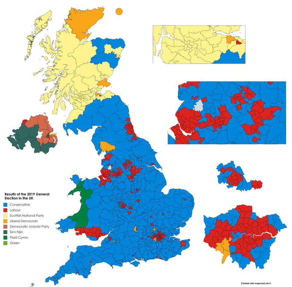 Winning party by constituencies in yesterday UK election